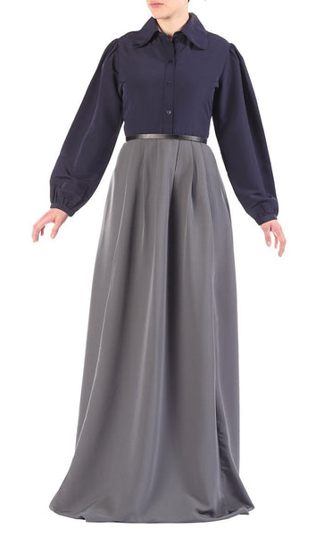Belted Two Tone Abaya - EastEssence.com
