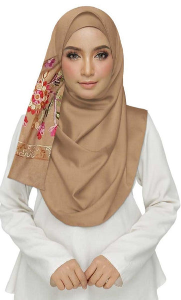 Best Seller - Designer Hand Work Flower Cotton Stole -Brown - EastEssence.com