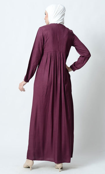 Big Floral Motif Embroidered Rayon Abaya Dress - EastEssence.com