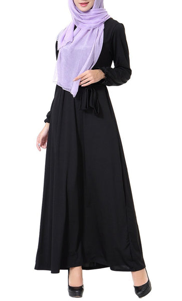 Bishop Sleeves And Knotted Long Abaya Dress - EastEssence.com