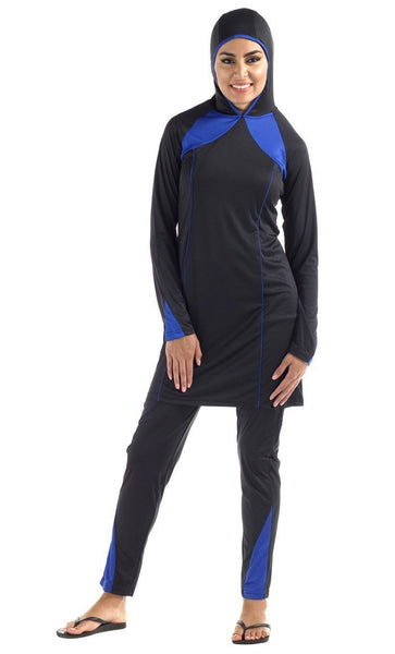 Black And Blue Contrasting Panel Swimwear Burkini Two Piece Set - EastEssence.com