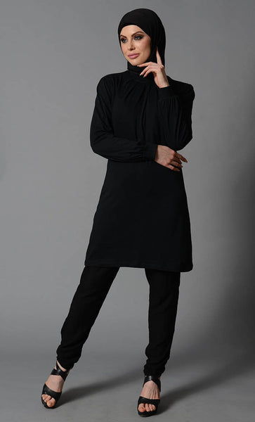 Black Cotton Tunic - EastEssence.com