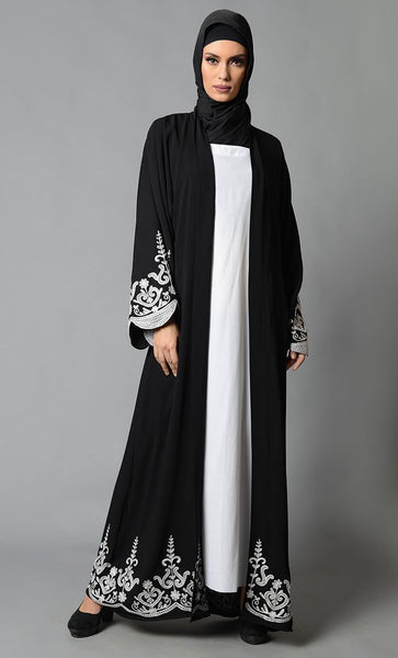 Black Embroidered Moss Crepe Bisht - EastEssence.com