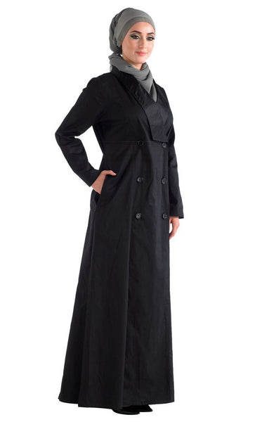 Black front open jilbab with a Trench Coat Collar - EastEssence.com