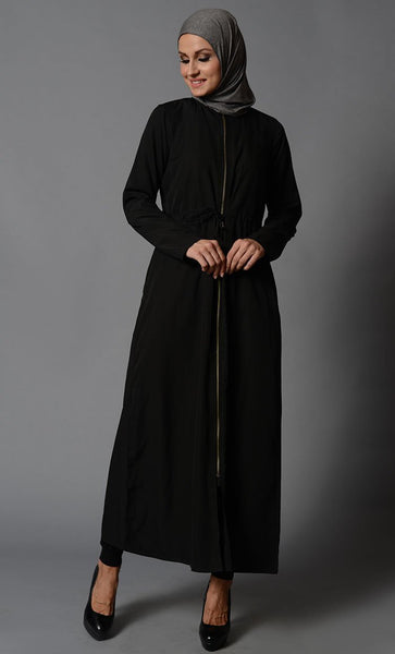 Black Front Zipper Open Crepe Tunic-Final Sale Item - EastEssence.com