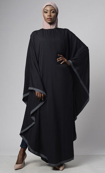 Black Grey Bordered Kaftan - EastEssence.com
