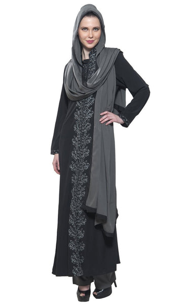 Black & Grey Resham Embroidered 3 piece Crepe Salwar Kameez set - EastEssence.com