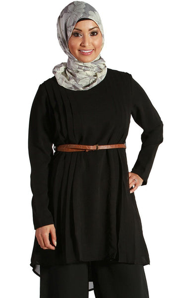 Black Pleated Georgette Kurti - EastEssence.com