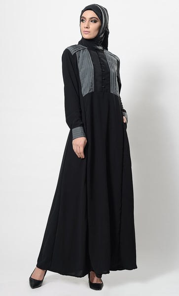 Black Pleated Panels Fit And Flared Abaya Dress And Hijab Set - EastEssence.com