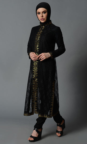 Black Polyester with front Crystal Net Shrug-Final Sale Item - EastEssence.com