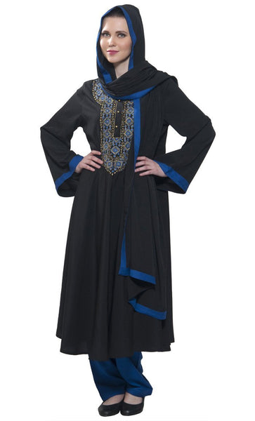 Black salwar suit with Umbrella pleats - EastEssence.com