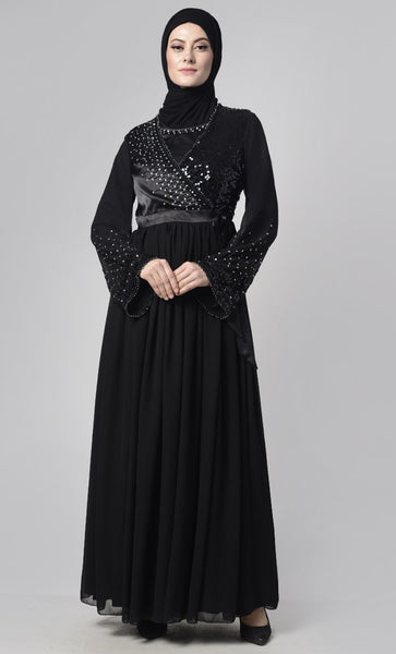 Black Sheer Embroidered Beads Abaya - EastEssence.com