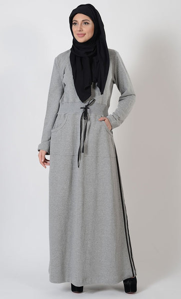 Black Stripe Fleece Blend Activewear Abaya - Grey-Final sale - EastEssence.com