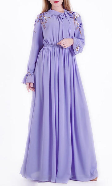 Blue Cherryblossom Abaya dress - EastEssence.com
