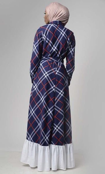 Blue Energetic Burberry Abaya With White Bottom Flounce - EastEssence.com