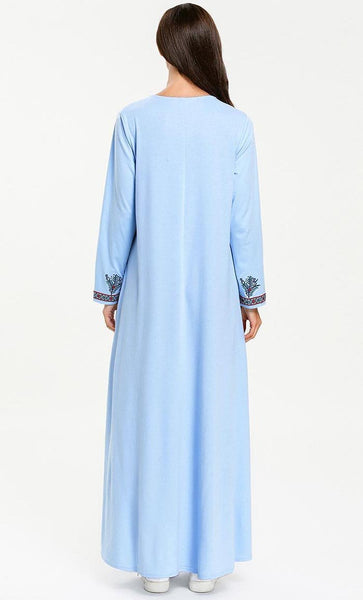 Bluebell Embroidered Abaya-Light Blue - *Size Up* - EastEssence.com