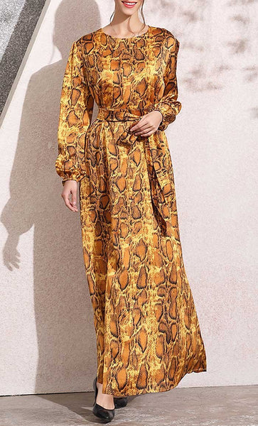Bold Animal Printed Abaya (Serpentine) - *Size Up* - EastEssence.com