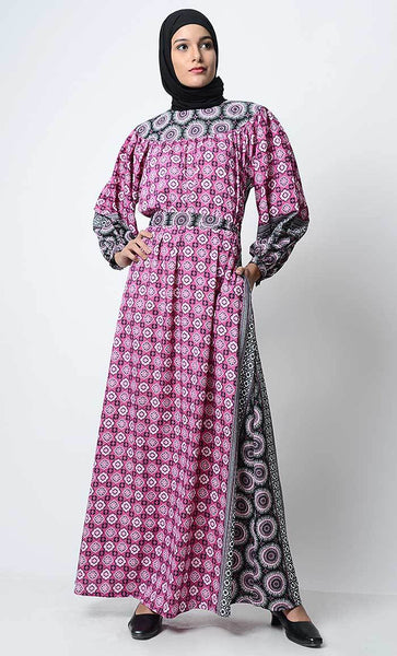 Border Print Regular Abaya - EastEssence.com