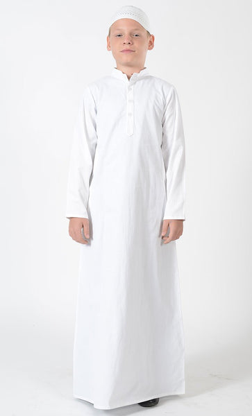 Boys Basic Cotton White Thobe - Final Sale - EastEssence.com
