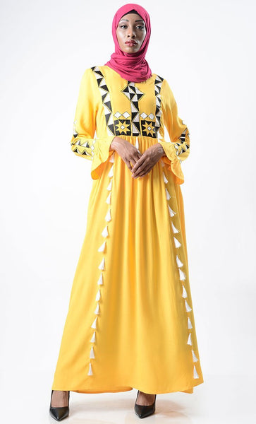 Breezy Summer Embroidered Abaya - EastEssence.com