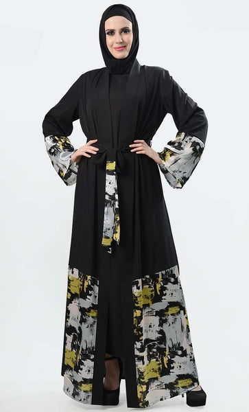 Bright And Shine Printed Shrug-Black + Green - EastEssence.com