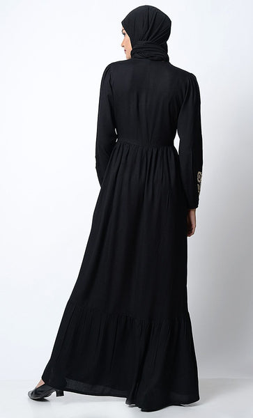 Bright Floral Embroidered Front Open Abaya - EastEssence.com