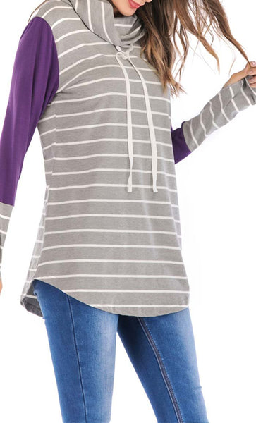 Broad Stripe With Solid Hoodie-Purple -*Size Up* - EastEssence.com