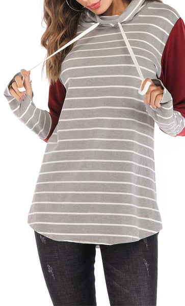 Broad Stripe With Solid Hoodie-Wine Red -*Size Up* - EastEssence.com