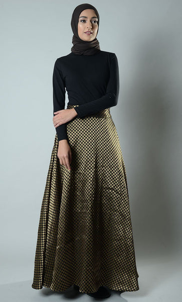 Brocade Panelled And Flared Maxi Skirt - EastEssence.com