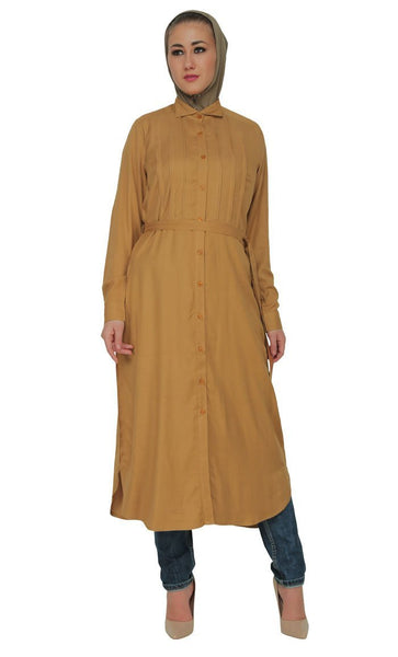 Button Down And Belted Shirt Style Tunic - EastEssence.com