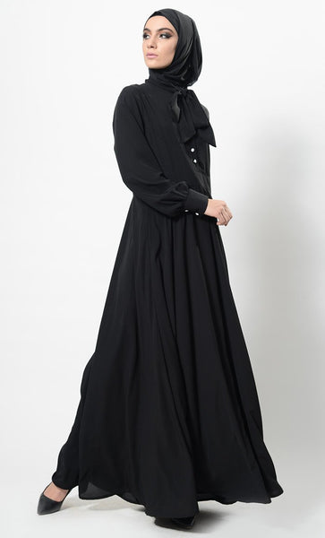 Button Down And Jabot Collared Baisc Abaya Dress And Hijab Set - EastEssence.com