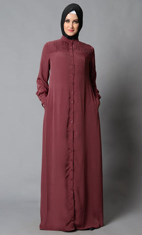 Button Down And Short Collared Basic Abaya Dress - EastEssence.com