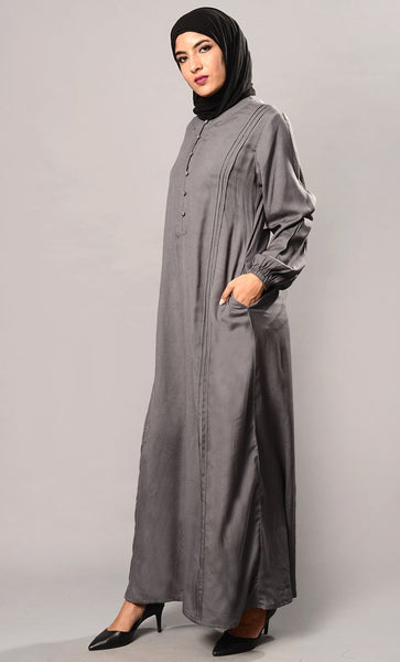Button Down Casual Wear Abaya Dress - EastEssence.com