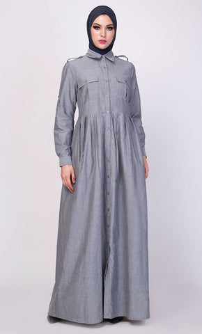Button Down Detail Casual Everyday Abaya Dres - EastEssence.com