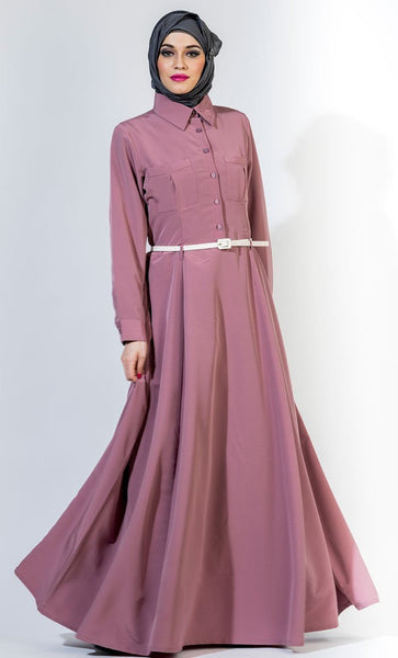 Button Down Shirt Style Everyday Abaya Dress - EastEssence.com