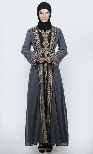 Calming Grey Embroidered Moroccan Ocassion Wear Abaya With Loose Belt - EastEssence.com