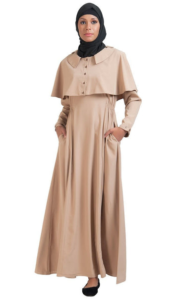 Cape Button Accent Abaya Dress - EastEssence.com