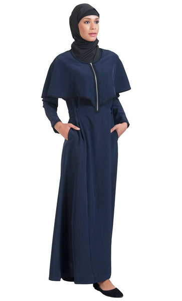 Cape Style Fit And Flared Pleated Abaya Dress - EastEssence.com