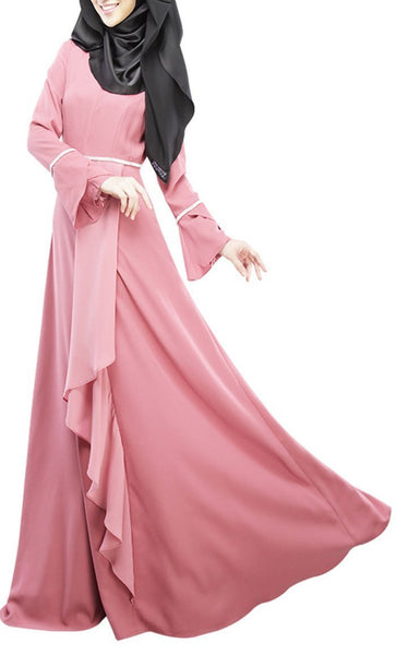 Cascade Layered And Ruffled Drape Style Flared Abaya Dress - EastEssence.com