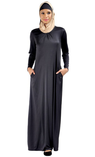 Casual And Pleated Everyday Abaya Dress - EastEssence.com
