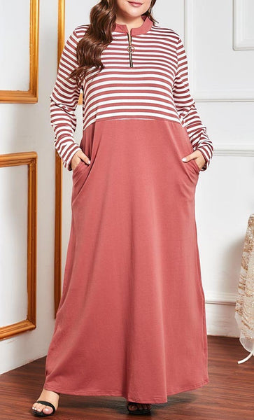 Casual Sports Abaya With Pockets - Pink-*Size Up* - EastEssence.com