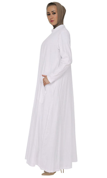 Casual Wear Broad Pockets Long Abaya Dress - EastEssence.com