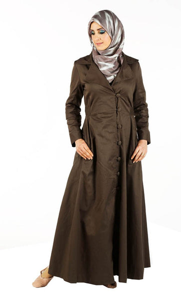 Casual wear jacket style button down abaya dress - EastEssence.com