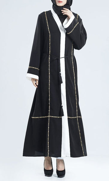 Chain Embroidered Front Open Wrap Around Bisht Dress - EastEssence.com