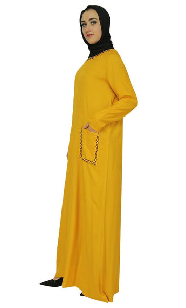 Chain Work Design Appliqued Abaya Dress - EastEssence.com