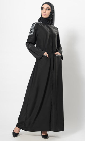 Checkered Panel Fit And Flared Long Dress And Hijab Set - EastEssence.com
