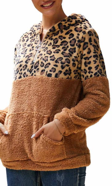 Cheetah Print With Solid Hoodie-Khaki - *Size Up* - EastEssence.com