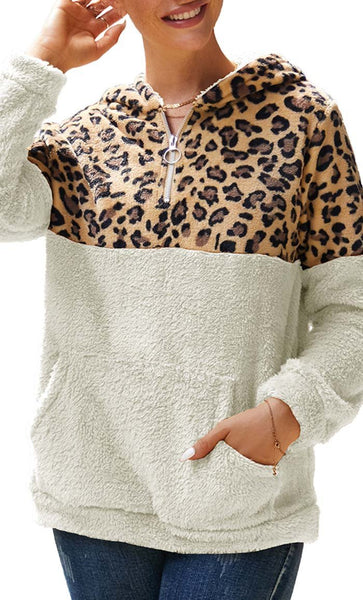 Cheetah Print With Solid Hoodie-White - *Size Up* - EastEssence.com