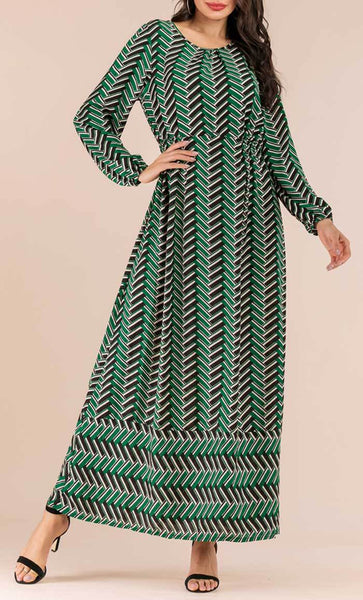 Chevron Printed Abaya Dress (Green) - *Size Up* - EastEssence.com