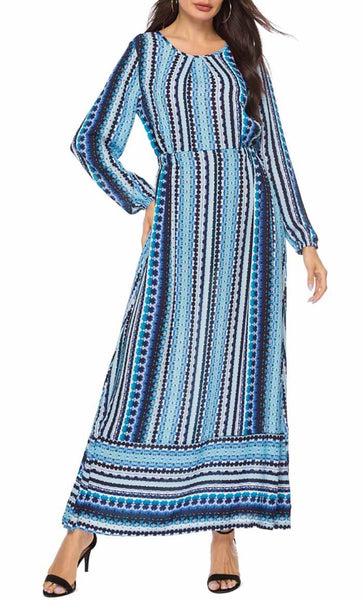 Chiffon Printed Abaya Dress (Blue) - *Size Up* - EastEssence.com